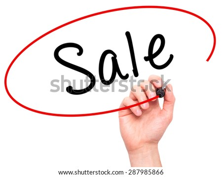Man Hand writing Sale with black marker on visual screen. Isolated on white. Business, technology, internet concept. Stock Image