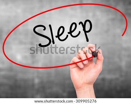 Man Hand writing Sleep with black marker on visual screen. Isolated on grey. Business, technology, internet concept. Stock Photo