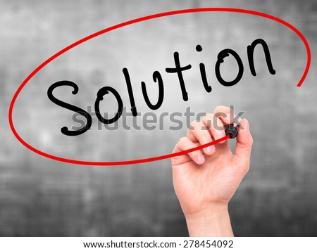 Man Hand writing Solution with marker on transparent wipe board. Isolated on grey. Business, internet, technology concept.  Stock Photo - stock photo