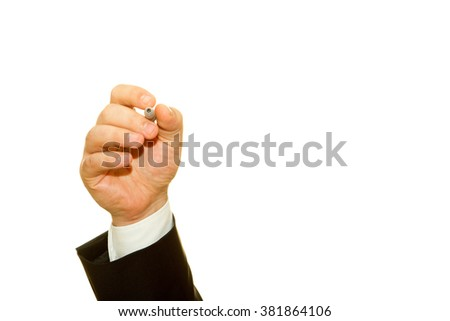 Man hand writing something with marker on a transparent wipe board. Write your message here.Hand Isolated on white. - stock photo
