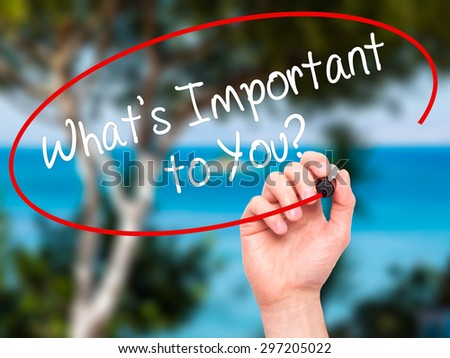 Man Hand writing What's Important to You? with black marker on visual screen. Isolated on nature. Business, technology, internet concept. Stock Photo - stock photo