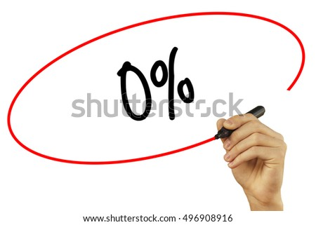 Man Hand writing 0% with black marker on visual screen. Isolated on background. Business, technology, internet concept. Stock Photo