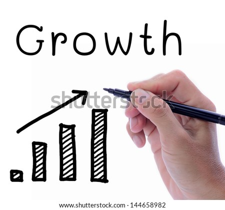 Man hand writing word, Growth, with drawing of rising statistic on white space