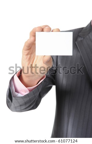 man handing a blank. Isolated on white - stock photo