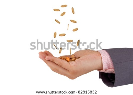 man hands and falling coins isolated on white background