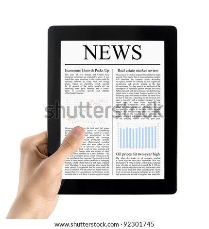 Man hands are holding electronic tablet with news. Isolated on white. - stock photo