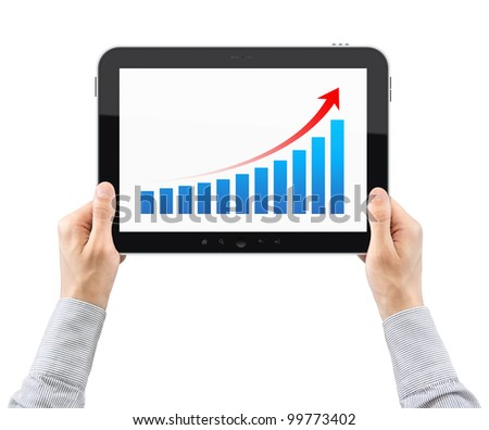 Man hands are holding the modern digital tablet pc with success growth chart on a screen. Isolated on white.