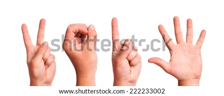 Man Hands Forming Number 2015 On a White Background - stock photo