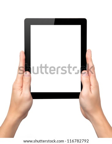 man hands hold a tablet touch pad computer gadget with isolated screen - stock photo