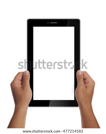 Man hands holding generic tablet.Tablet mockup. Portrait mode. Blank space 16:9 aspect ratio