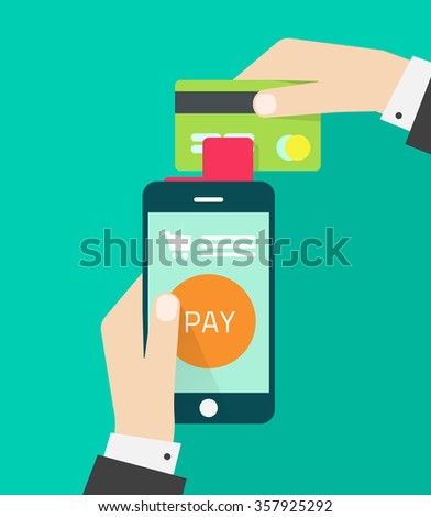 Man hands holding mobile phone, credit card illustration, concept of mobile payment app, smartphone communication, payments application system, money transfer, modern design isolated on green image - stock photo
