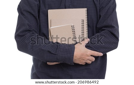 Man hands holding notebook isolated on white background, clipping path - stock photo