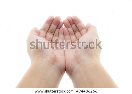 man hands holding or giving something isolated on white background