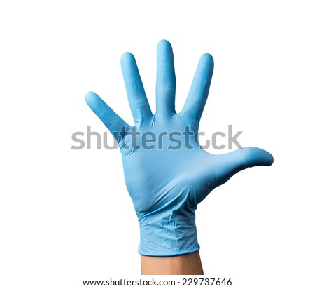 man hands holding Wear rubber gloves on a white background. - stock photo