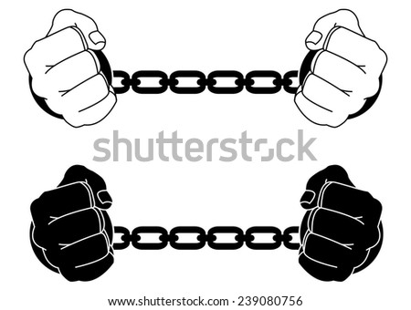 Man hands in strained steel handcuffs. Black and white illustration isolated on white - stock photo