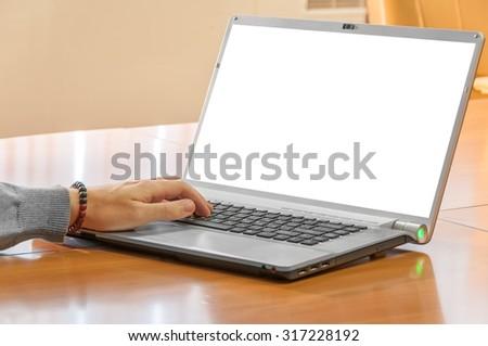 man hands on laptop - stock photo