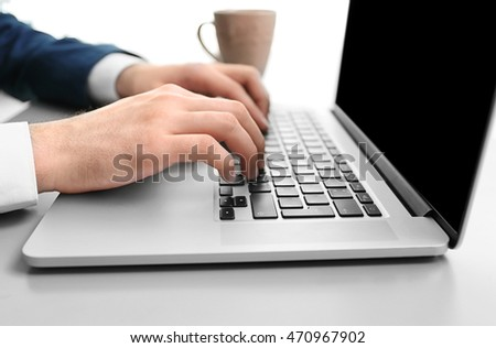Man hands typing, closeup