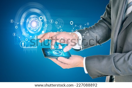 Man hands using smart phone. Earth on phone screen. Network near phone. Element of this image furnished by NASA