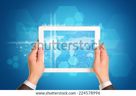 Man hands using tablet pc. Image of business elements on tablet screen