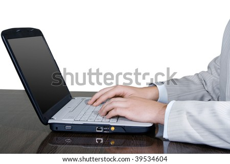 man hands working with computer isolated on white