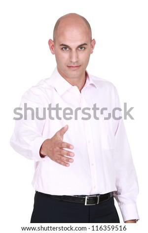 Man handshaking - stock photo