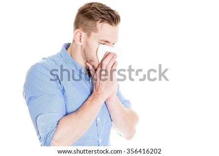 Man has a cold  - stock photo