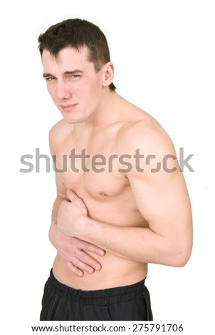 man has a stomach ache - stock photo