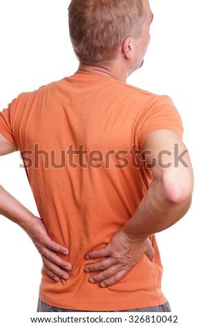 Man has back pain  - stock photo
