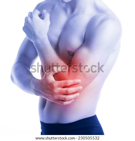 Man has elbow contusion and pain - stock photo