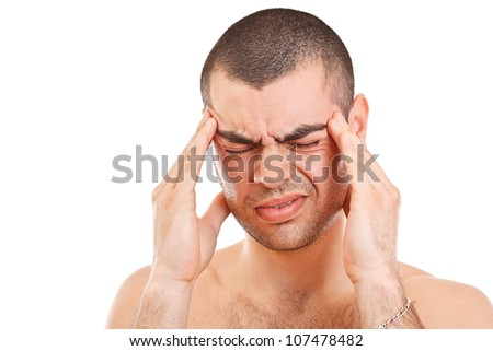 Man having a headache isolated on white background - stock photo
