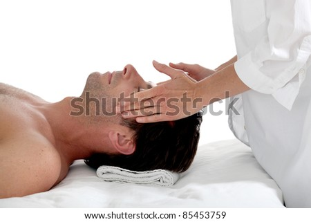 Man having a massage - stock photo