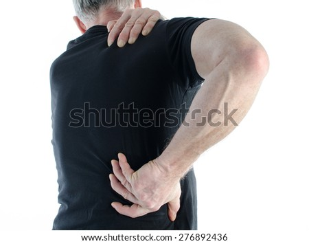 Man having a pain back - stock photo