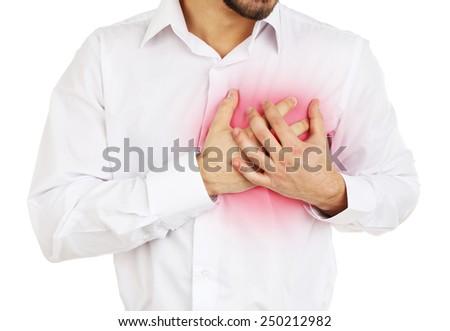 Man having chest pain - heart attack - stock photo