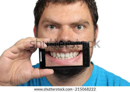 Man having fun with a selfie mouth on a white background - stock photo