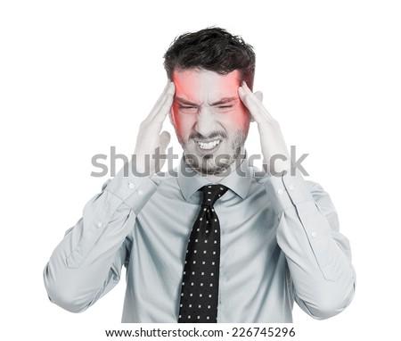 Man having headache isolated on white background. Human face expression, emotion - stock photo