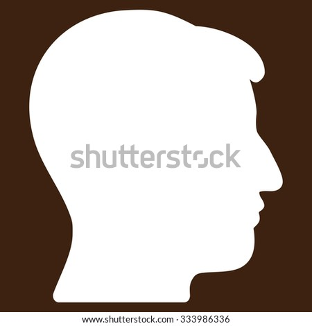 Man Head glyph icon. Style is flat symbol, white color, rounded angles, brown background.
