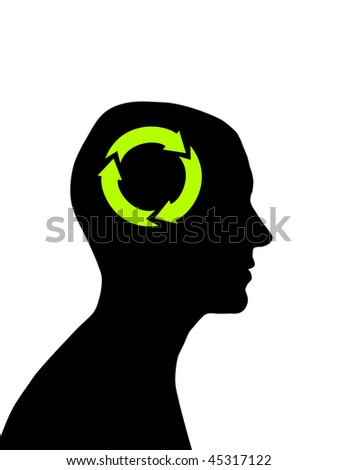 Man head silhouette with recycling symbol inside - stock photo