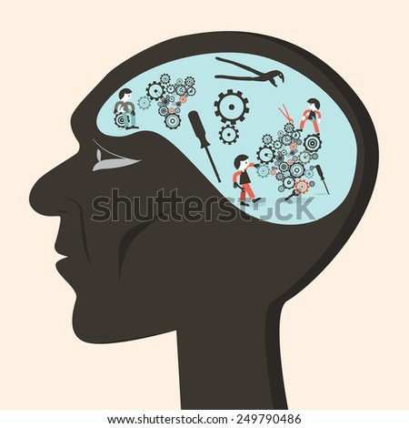 Man Head with Cogs and Workers Illustration - stock photo
