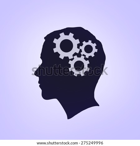 Man head with gears. Human head thinking - stock photo