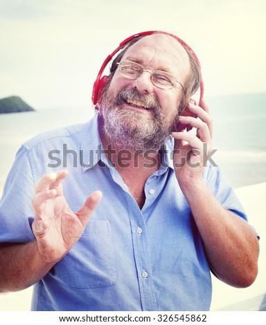 Man Headphones Listening Music Happiness Concept - stock photo