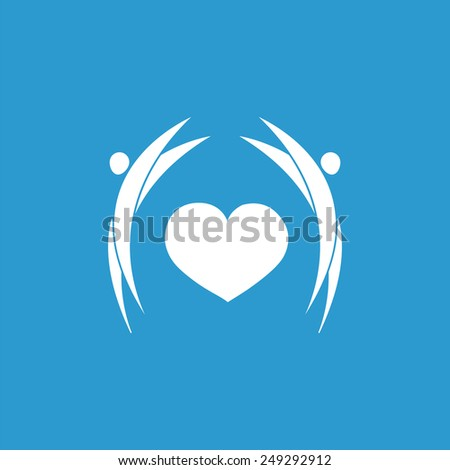 man heart icon, isolated, white on the blue background. Exclusive Symbols  - stock photo