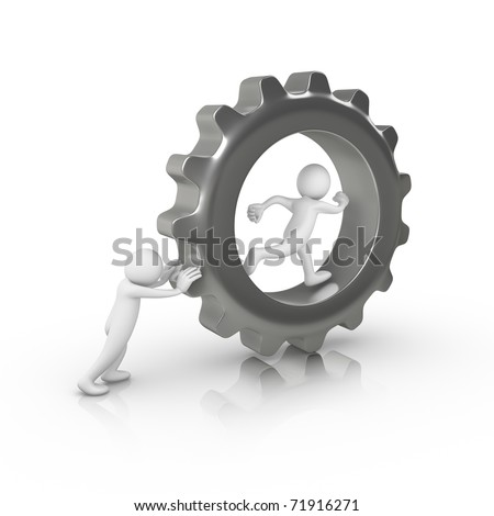 Man helping someone else to run inside a big gear