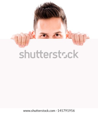 Man hiding behind a banner - isolated over white background