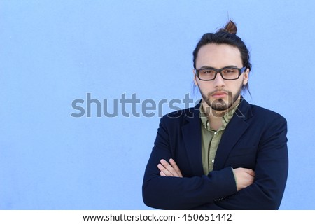 Man Hipster Style Fashion Guy Beard Glasses Portrait Casual Person Silhouette with copyspace - stock photo