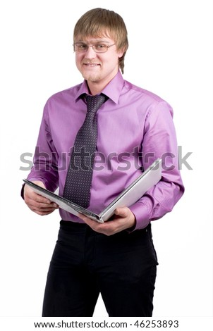man hold a book - stock photo
