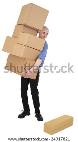 Man hold heap cardboard boxes on white