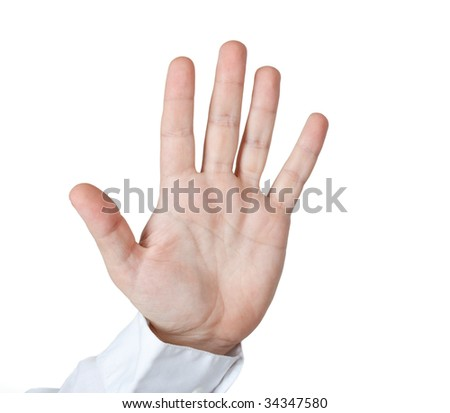 Man hold open palm. clipping path. - stock photo