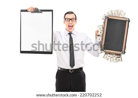 Man holding a bag full of money and a clipboard isolated on white background - stock photo