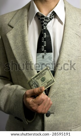 Man holding a banknote isolated