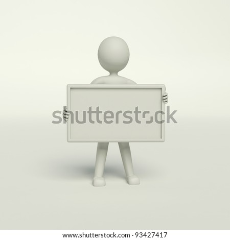 man holding a blank board on the white background - stock photo